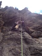 Rock Climbing Photo: Near the bottom.  Second bolt clipped above.