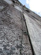 Rock Climbing Photo: Crack on Pitch 2 of Hairpin.