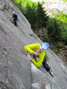 Rock Climbing Photo: Jessica on the 5.9 traverse that forms Pitch 3 of ...