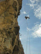Rock Climbing Photo: Full 60m abseil off the tree on the right side (tw...
