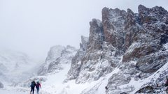 Rock Climbing Photo: Approach to Cathedral Spires from Sky Pond, RMNP.