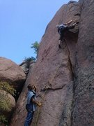 Rock Climbing Photo: The first attempt at the thin crack left of Third ...