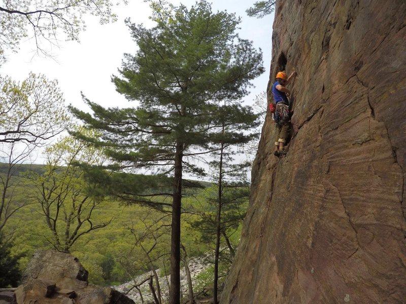 Rock Climbing Photo: M Robinson on his annual lead of fullstop.  Photo:...