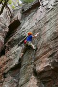 Rock Climbing Photo: M Robinson headpointing Tfare. Photo: unknown