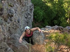 Rock Climbing Photo: Kieley is topping out Pooh Corner