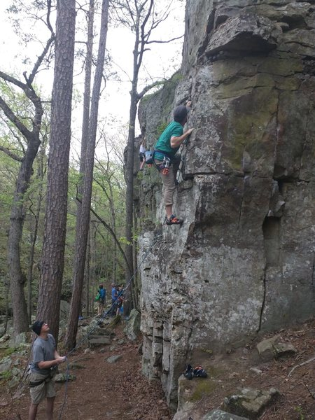 Rock Climbing Photo: Kevin Wagoner moves through the starting ledges an...