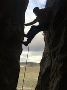 Rock Climbing Photo: Chimneying past the first bolt