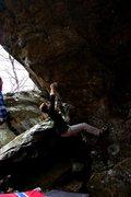 Rock Climbing Photo: Pre crux hold break.