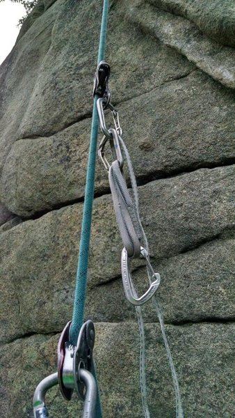 Attach the petzl basic above the mini. Add a QD and long sling to the biner on the basic.