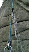 Rock Climbing Photo: Attach the petzl basic above the mini. Add a QD an...