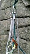 Rock Climbing Photo: Attach you chosen rappel device below the mini.  N...