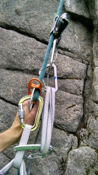 Rock Climbing Photo: Step up in the long sling again to take in tight o...