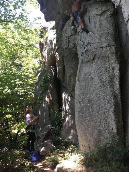 Belaying Johnny on the Sloth. What an honor to climb with the local legend himself!