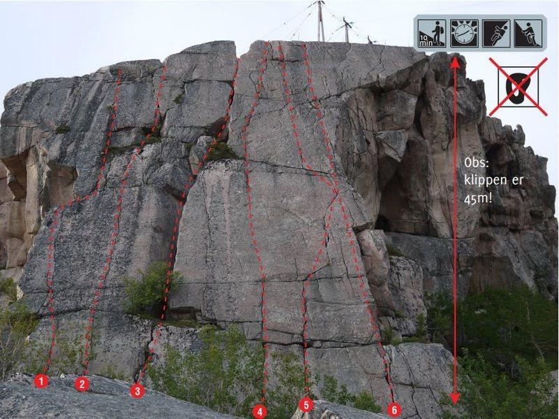 Rock Climbing Photo: Topo for Nordskotsvaet