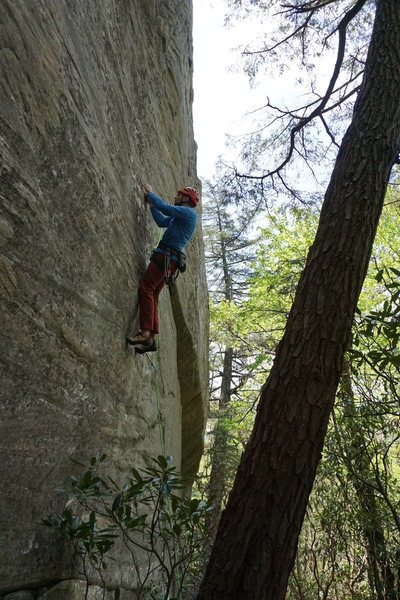 Resting up after the first crux