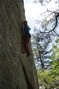 Rock Climbing Photo: Clipping before the 2nd crux.