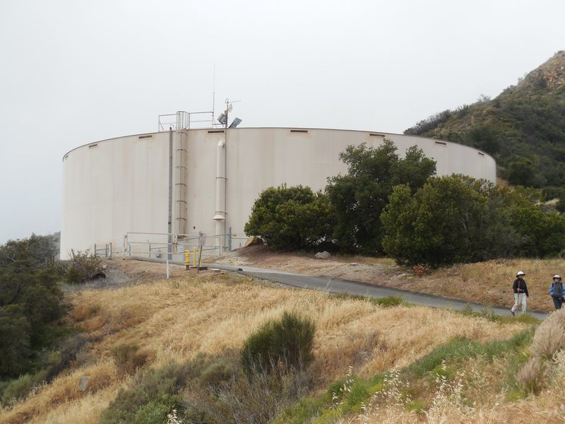 Las Virgenes Water District water tank. Pass this on your right about 1/3 of the way in on the hike into Saddle Peak.