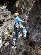 Rock Climbing Photo: Carol getting a minus 1 point deduction for the pa...