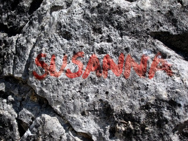 Rock Climbing Photo: Susanna route name at base of climb.