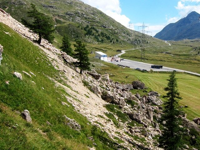 View of the parking lot and towards Bernina Pass from Lagalb