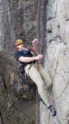 Rock Climbing Photo: Working the route on rope-solo
