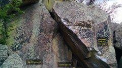 Rock Climbing Photo: Big Kid Tantrum, V4. Corner Crack, V2. Arrowhead...