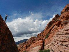 Rock Climbing Photo: KLS at the top of Log Flume