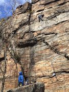 Rock Climbing Photo: my friend is below the crux moves, clipping the fo...