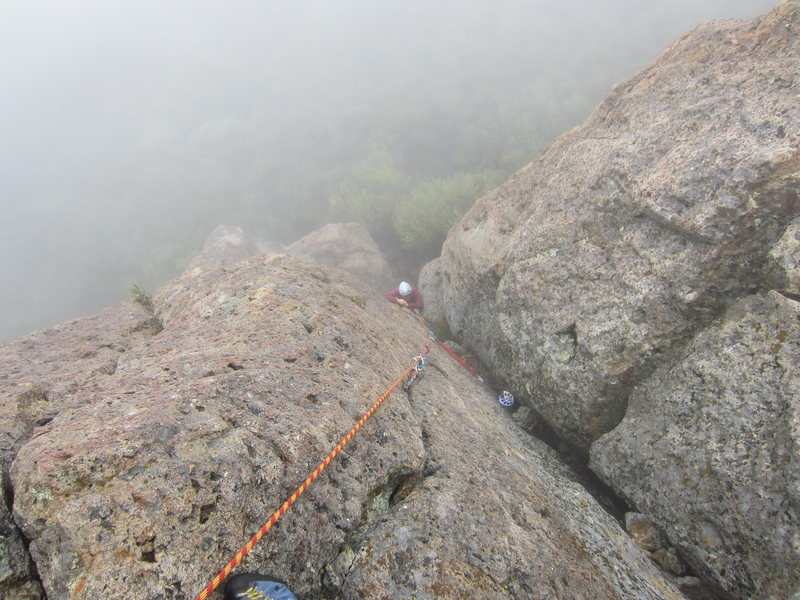 Rock Climbing Photo: Cheri Ermshar climbing the upper part of Forrester...