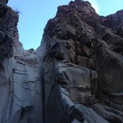 Rock Climbing Photo: The right side goes up the shoot on the right, ste...