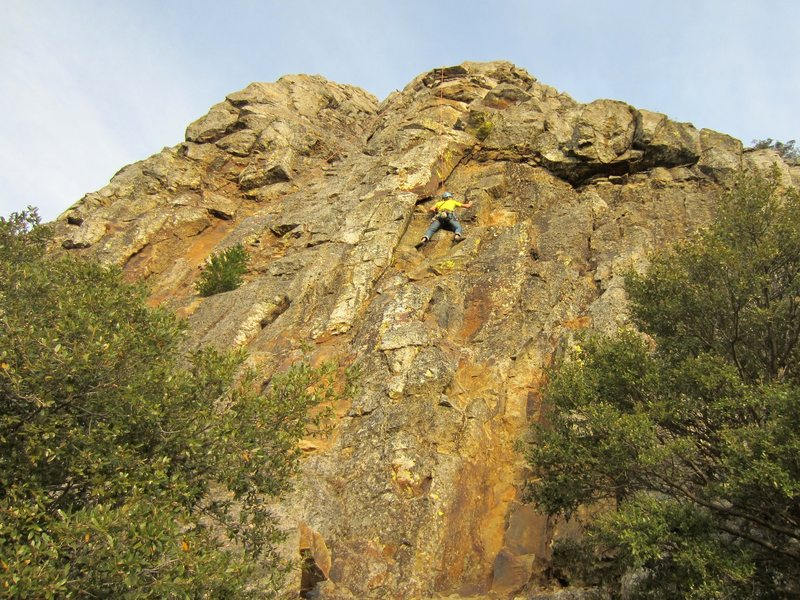 Andrew Taylor top-roping a trad route right of Macondo on 17 November 2013. Photo by Floyd Hayes.