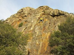 Rock Climbing Photo: Andrew Taylor top-roping a trad route right of Mac...