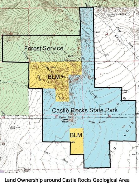 Map for Castle Rocks.  CLIMBING OPEN in State Park (blue) and National Forest Service (green).  CLIMBING CLOSED in BLM lands (yellow)