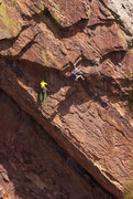 Rock Climbing Photo: Unknown climber negotiating the crux of The Wisdom