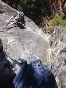Rock Climbing Photo: Richard Duncan topping out on pitch one.