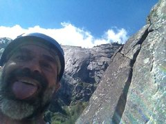 Rock Climbing Photo: Over my left shoulder are the 5.7x and 5.7r variat...