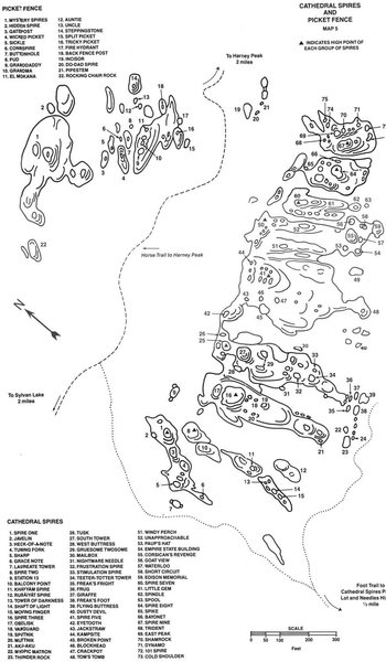 Map of Picket Fence and Cathedral Spires