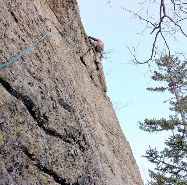 Rock Climbing Photo: Jay Harrison near the crux