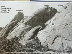 Rock Climbing Photo: A photo with line drawn in from the 2010 guidebook...