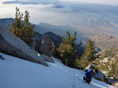 Rock Climbing Photo: Joe postholing near the top.