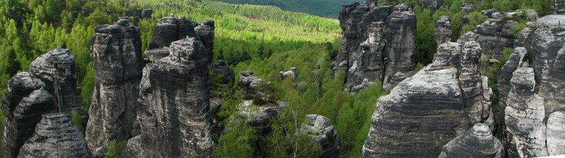 Classic view of the sandstone towers in Ostrov