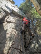 Rock Climbing Photo: Setting off on my first trad lead. This is a good ...