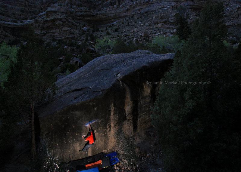 Rock Climbing Photo: Jason on the night send.