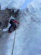 Rock Climbing Photo: Detail of crux step 5/10/16 in pretty fat conditio...