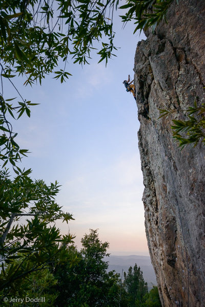 Sam Trimboli clips the chains on Stone Free, Bear Cliff, Mt. St. Helena