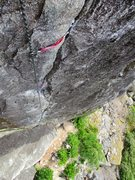 Rock Climbing Photo: Looking down the fingercrack of Cold Comfort.