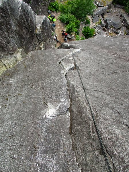 Rock Climbing Photo: Looking down the crack of Picket Line.