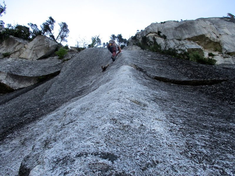 Climbing on Pitch 1 of Squamish Buttress