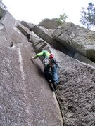 Rock Climbing Photo: Jon leading off Pitch 2 of Rock On Direct (aka Har...