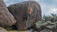 Rock Climbing Photo: Swinging along on Tony's.....